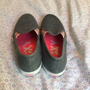 ROXY slide-on shoes. Gray with rainbow accents